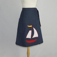 Vintage Sailboat Applique Wrap Skirt Cute Denim Jean Skirt 1970s Novelty Skirt L