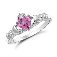 Kriskate & Co. Irish Claddagh Ring .925 Sterling Silver with Simulated Pink Sapphire Heart Promise Ring Size 8