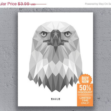 Eagle Print Printable Poster Bird Typography Geometric Print Black White Wildlife Animal Art Retro Art Print Instant Download Digital Print
