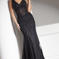 Black V-Neck Prom Dress by Tony Bowls