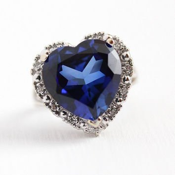 Vintage Heart Ring - 14k White Gold Genuine Diamond & Created Blue Sapphire Statement - Size 6 3/4 Retro Dated 1975 Halo 70s Fine Jewelry
