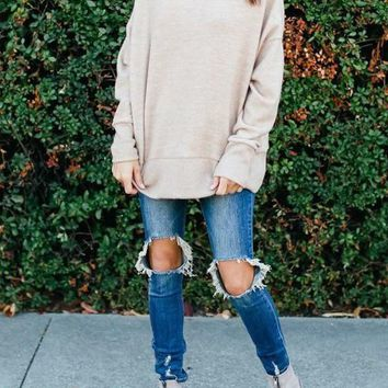 Khaki Round Neck Long Sleeve Slouchy Casual Pullover Sweater