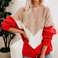 Explosion models autumn and winter striped shirt contrast color sweater women's new style