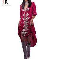 Wine Red Floral Embroidery Half Sleeve Midi Fall Dress Plunge Deep V Neck Sexy Bohemian Casual Shift Dresses 2016 Spring Women