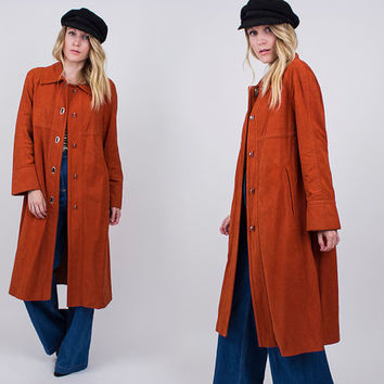 vintage 70s burnt orange maxi jacket longline duster trench coat hippie boho peacoat brown autumn