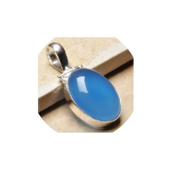 Blue Chalcedony Pendant ,  Sterling Silver Chain , Oval  Sterling Silver Blue Chalcedony Pendant , Hinged  Bail