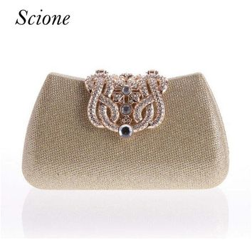 Gold Clutch Full Luxury Diamond Crown Evening bags Silver Evening Clutch Party Purse Glitter Wedding bags messenger bags Li363