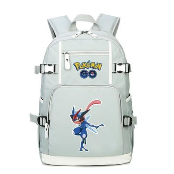 High Quality Cartoon Mewtwo Greninja Printing Backpack Pocket Monster  School Bags Canvas Laptop Backpack RucksackKawaii Pokemon go  AT_89_9