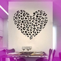 Cheetah Spot Print Heart Wall Decal Sweet Heart Removable Wall Art Decal Sticker Decor Mural DIY Vinyl Décor Room Home.