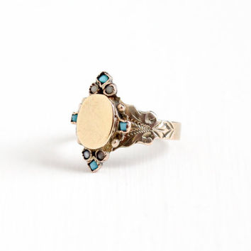 Antique Victorian 10k Rose Gold Simulated Turquoise & Seed Pearl Shield Ring - Vintage 1890s Size 6 1/2 Blue White Glass Stone Fine Jewelry