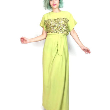 Vintage 1940s Evening Gown Gold Sequin Dress Crepe Draped 40s Dress Chartreuse Yellow Short Sleeve Glam Formal Gown (S/M)