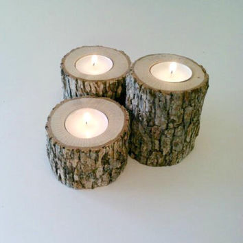 Best log candle holder centerpiece products on wanelo for Log candle holder how to make