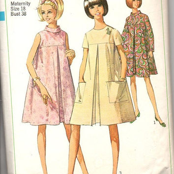 Simplicity 7393 Sewing Pattern 60s Maternity Dress Loose Fit Tent Trapeze Style Large Pleat High Neck Retro Bust 38