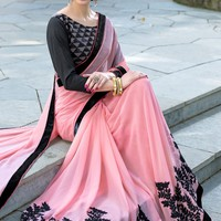 Peach Georgette Saree with Blouse - SAREE - Women