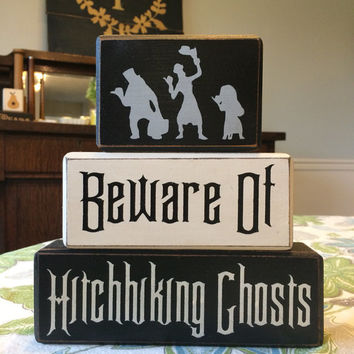 Disney haunted mansion hitchhiking ghost halloween decor stacking wood blocks distressed custom