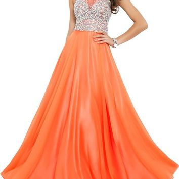Callmelady Chiffon Long Prom Dresses 2016 with High Neck & Fully Beaded Mesh Bodice