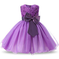 Girl Purple Bow Party Dress