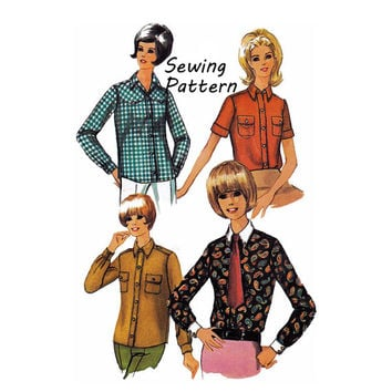 Simplicity 6929 Woman's Buttondown Shirts Sewing Pattern Vintage 1960's Size 14 Bust 34in /86cm