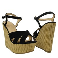 Sexy Women Casual Raffia-wrapped Platform Wedge Heels Sandals Black Faux Suede