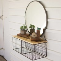 Round Metal Framed Mirror With Two Cubbies And Recycled Wood Shelf
