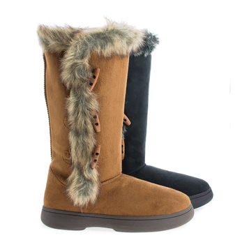 Tahoe16 Black F-Suede by Sully's, Mid Calf Round Toe Button Up Faux Fur Winter Boots