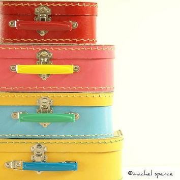PHOTOGRAPHS of a Set of Four Vintage Suitcases 10X10 Vintage Vintage Stacked Suitcases Toys Pastel Vintage Child Pink Blue Yellow Red