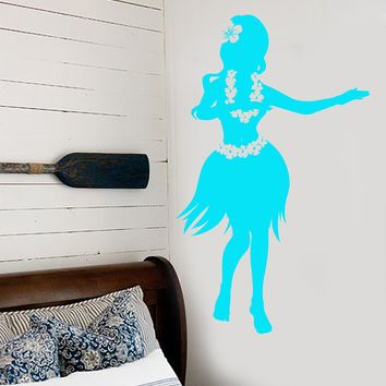 Vinyl Wall Decal Hawaiian Girl Sea Beach Style Dancing Stickers Unique Gift (1504ig)