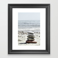 Balancing Stones On The Beach Framed Art Print by ARTbyJWP