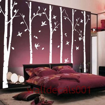white Birch Tree Wall Decal wall Sticker Nature Room decal Birds decal kids decal  decor Art - birds in birch forest - birch trees