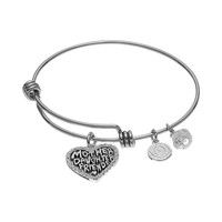 love this life ''Mother Daughter Friends'' Heart Charm Bangle Bracelet (White)