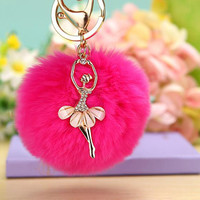 Ballerina Girl Fluffy Real Rabbit Fur Ball Keychain Car Key Chain Ring Decoration For Purse Bag EH-501