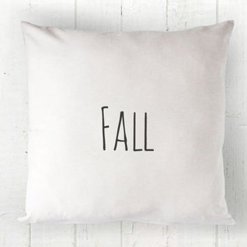 Fall Pillow Cover - Autumn Pillow, Shabby Chic Pillow, White Pillow, Farmhouse Pillow, Cottage Decor, 16 x 16, 18 x 18, 20 x 20