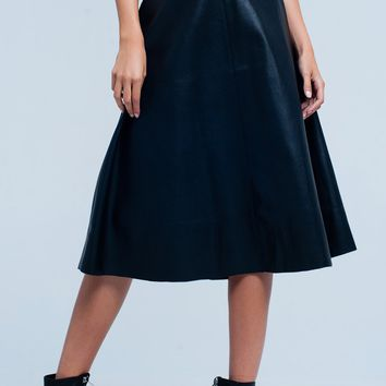 Black leather look midi skirt golden detail