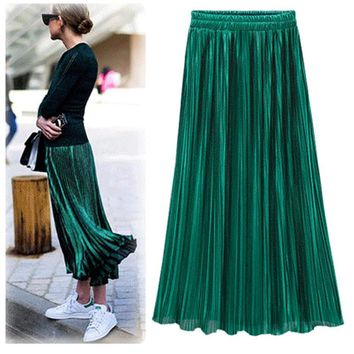 Women Fashion Gold Sequined Skirts Female 2017 New Black Red Green High Waist Pleated Midi Novelty Midi Skirts