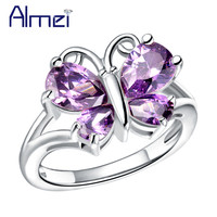 Almei Fashion White/Purple Stone Butterfly Rings for Women CZ Diamond Jewerly Trendy 2016 Rose/White Gold Plated Anillos J295