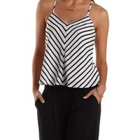 Black/White Striped Tie-Back Tank Top by Charlotte Russe