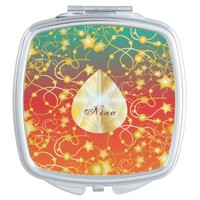 Golden Stars and Circles on A Gradient Background Vanity Mirror
