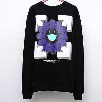 OFF-WHITE Early Autumn New Back Smile Sun Flower Print Men and Women Loose Turtleneck Sweater black