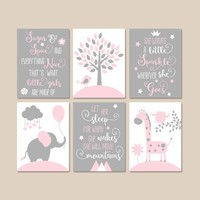 PINK GRAY Quote Nursery Decor, Girl Animal Nursery Wall Art, Elephant CANVAS or Prints Personalized Baby Girl Above Crib Pictures, Set of 6