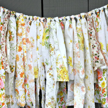 Vintage Fabric Bunting, Yellow & Peach Fabric Garland, Vintage Fabric Rag Tie Garland, Fabric Banner, Wedding Engagement Decor Photo Prop