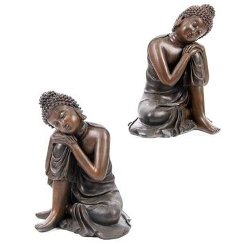 Wood Effect Buddha Head on Knee, 2 Assorted