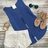 Just a Little Slit Top: Blue