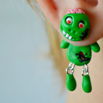 Zombie Earrings,Creepy Cute Zombie,Halloween Monster Earrings,faux gauge,dangling earrings,Holiday Character post,funny Fall girly climber