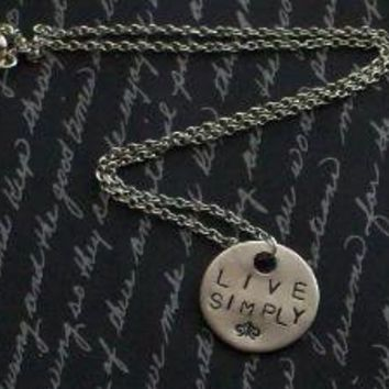 Live Simply Hand Stamped Necklace by SeizeTheNight on Etsy