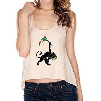 Womens Rasta Triangle Pose Lace Back Top