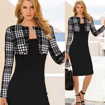 Elegant Notched Long Sleeved Plaid Knee Length Pencil Bodycon  Dress