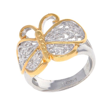 Dear Deer White and Yellow Gold Plated Butterfly Filigree Cocktail Ring