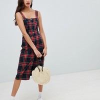Bershka button front check midi dress at asos.com