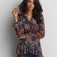 AEO Bell Sleeve Floral Shirt, Teal