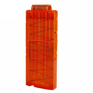 DCCKL3Z 12 Reload Clip Magazines Round Darts Replacement Plastic Magazines Toy Gun Soft Bullet Clip Orange For Nerf N-Strike Elite